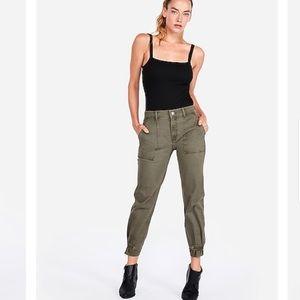 Express highwaist straight crop green utility pant